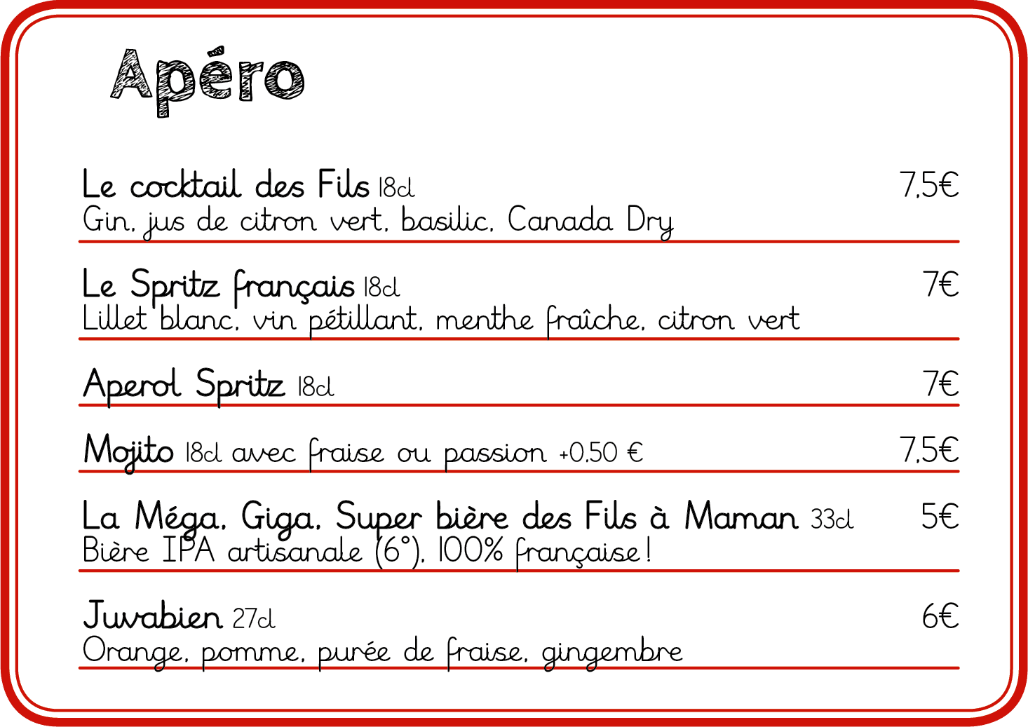 Element de la carte de nos restaurants